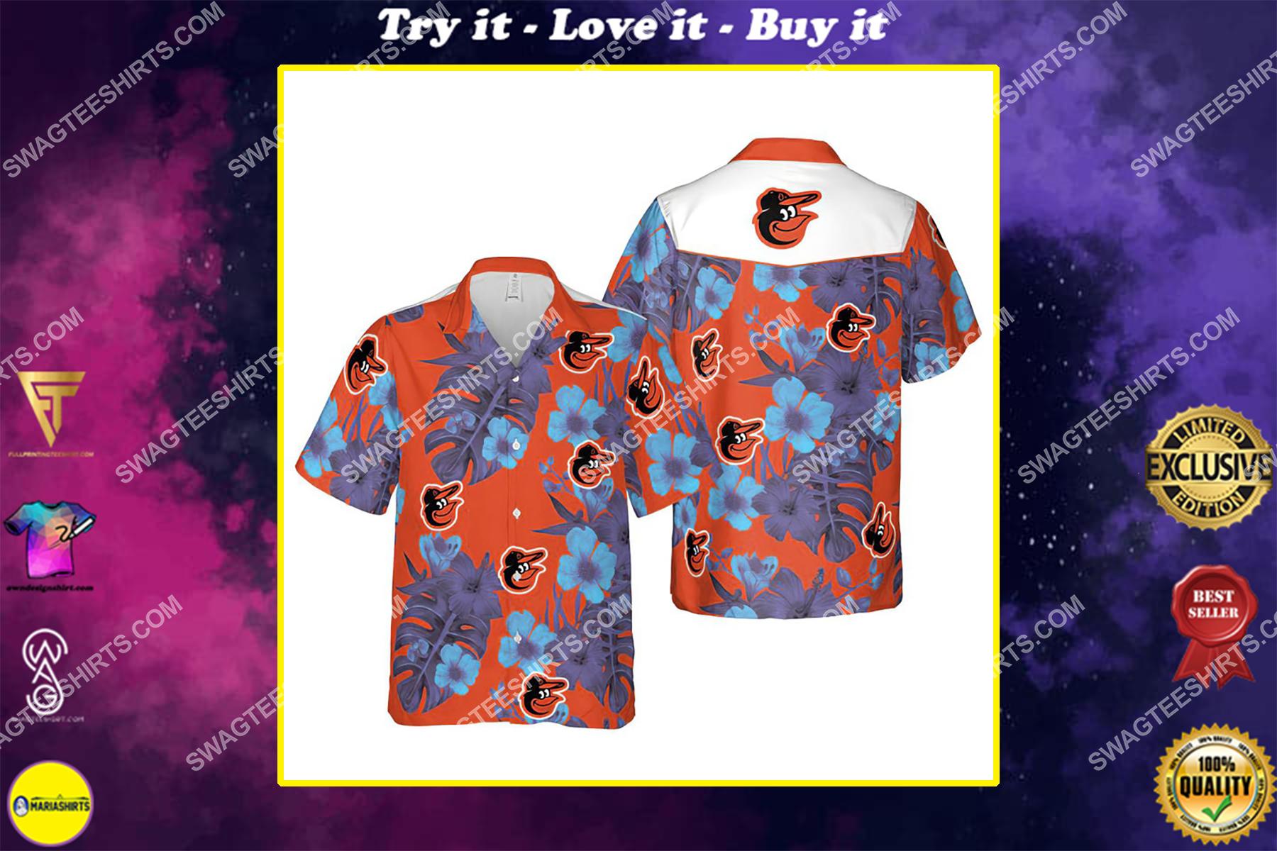 Floral baltimore orioles mlb hawaiian shirt