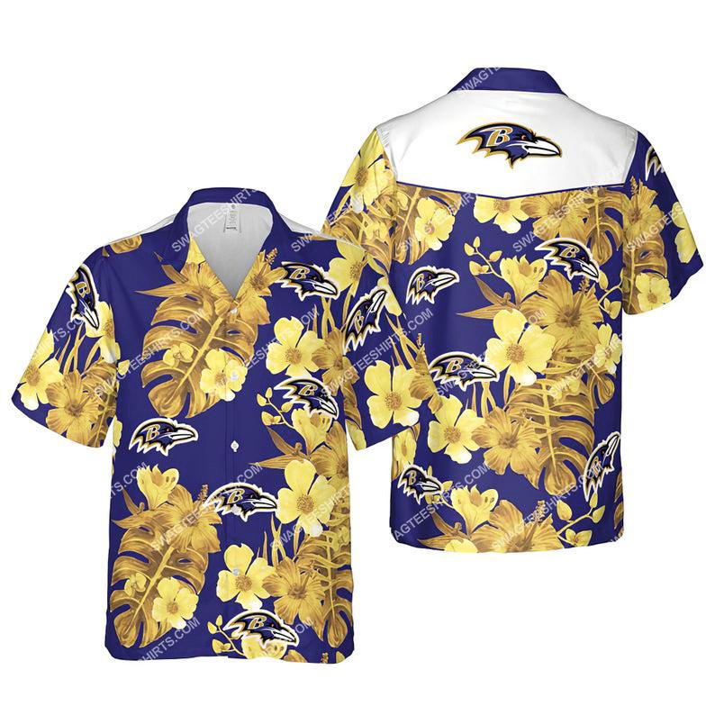 Floral baltimore ravens nfl summer vacation hawaiian shirt 1