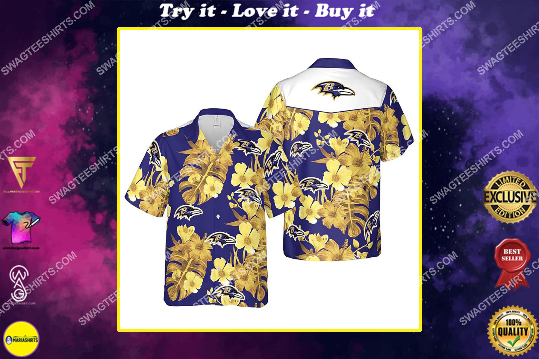 Floral baltimore ravens nfl summer vacation hawaiian shirt