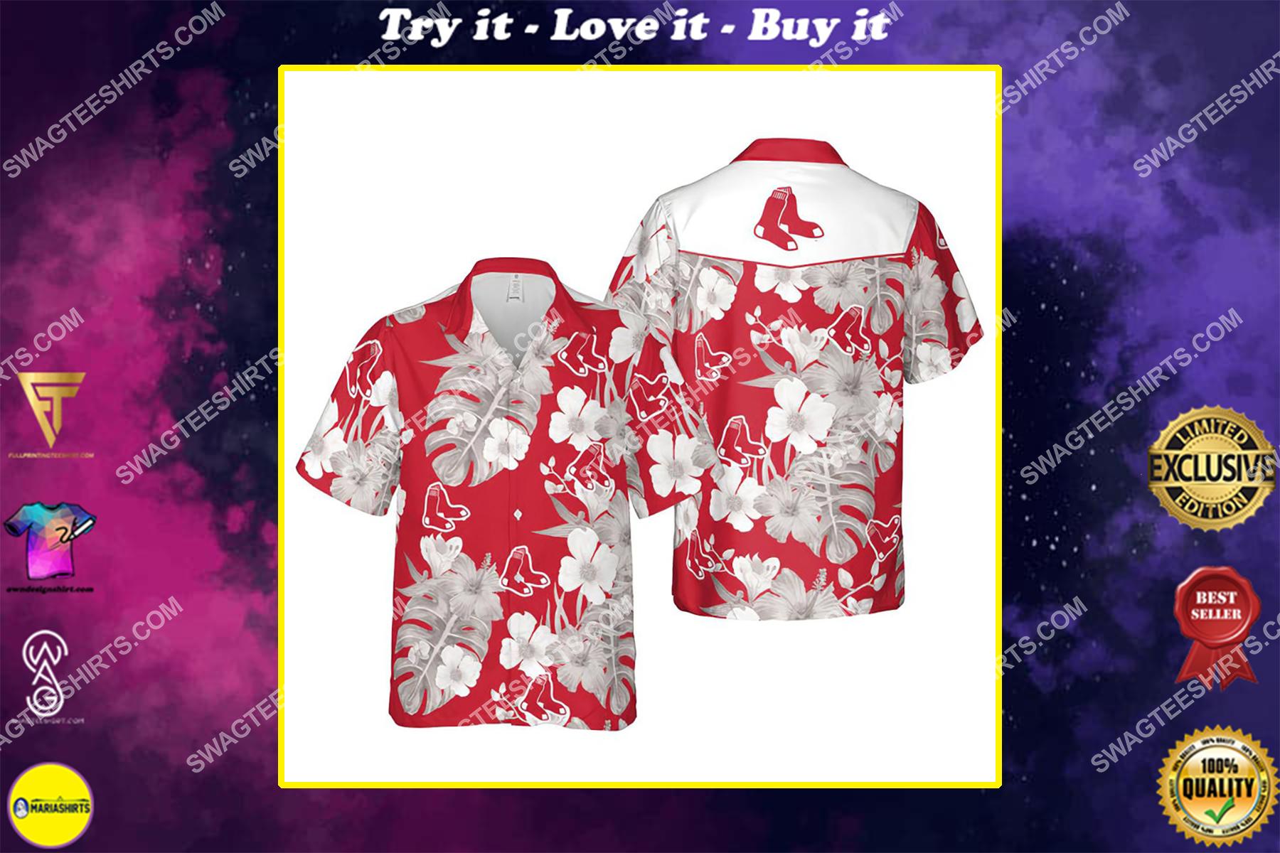 Floral boston red sox mlb summer vacation hawaiian shirt