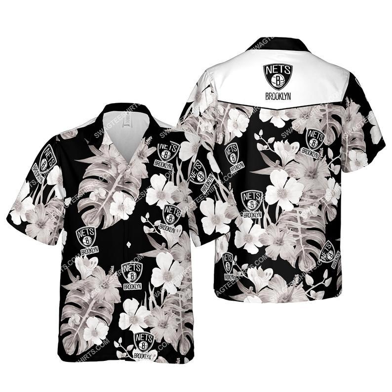 Floral brooklyn nets nba summer vacation hawaiian shirt 1