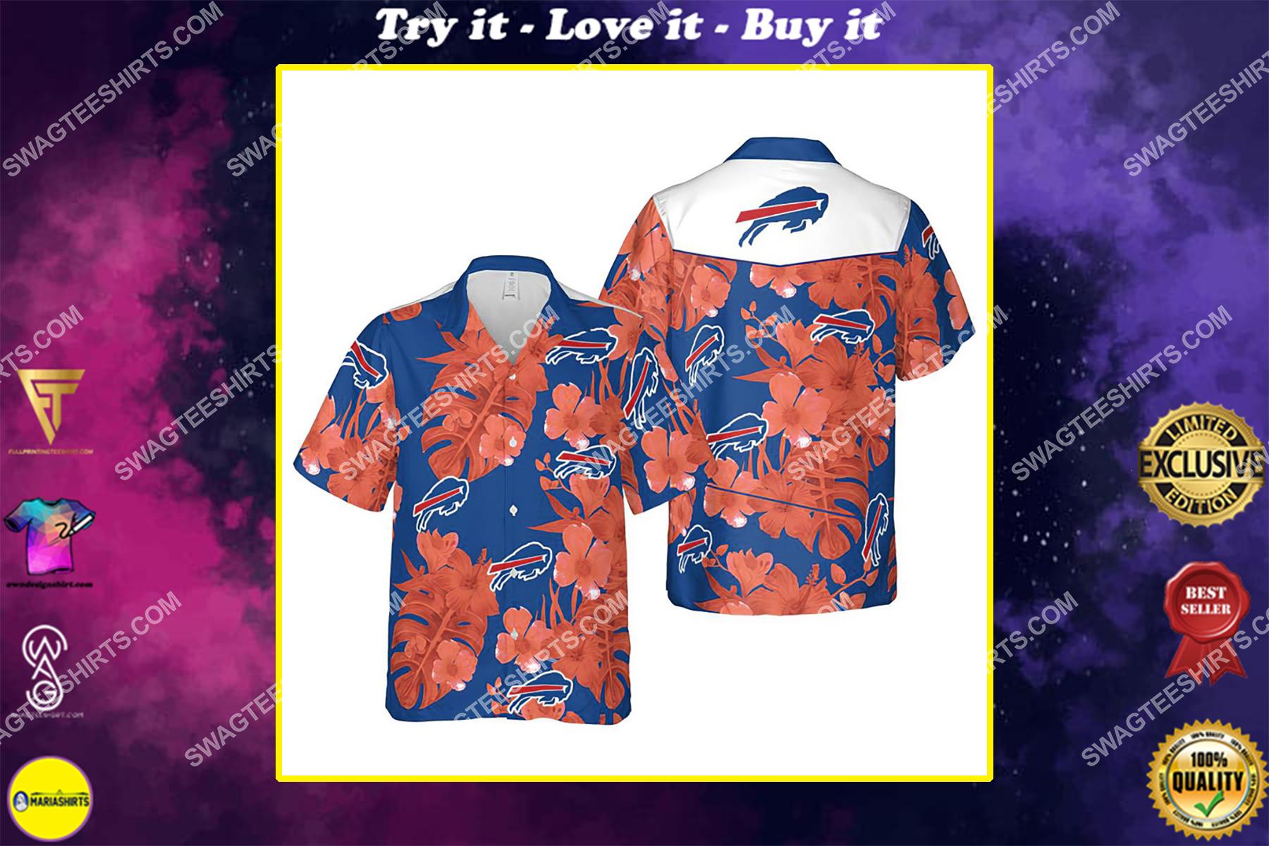 Floral buffalo bills nfl summer vacation hawaiian shirt