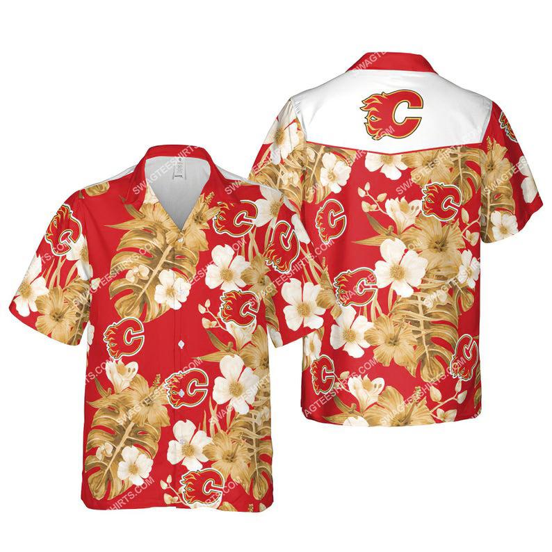 Floral calgary flames nhl summer vacation hawaiian shirt 1