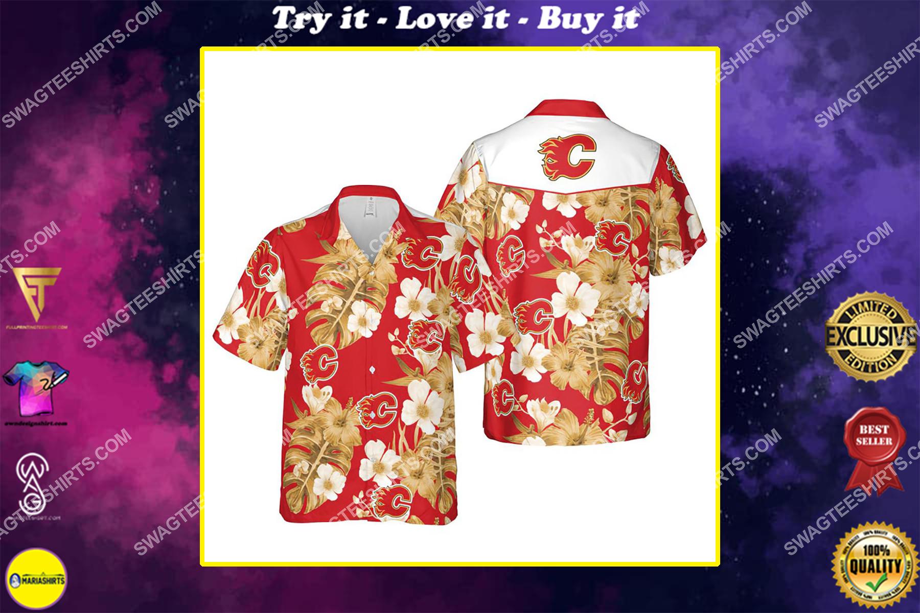 Floral calgary flames nhl summer vacation hawaiian shirt