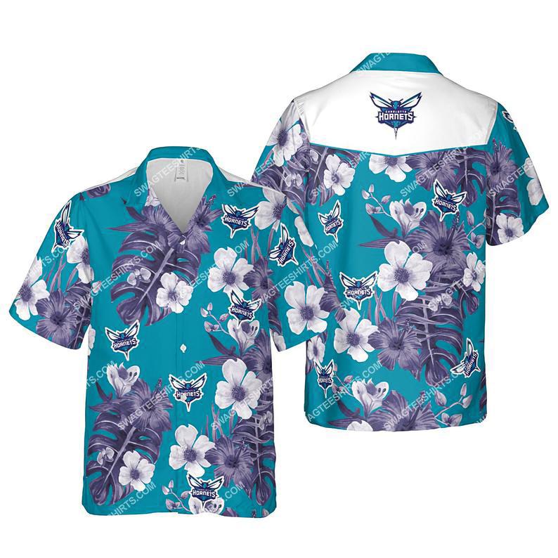 Floral charlotte hornets nba summer vacation hawaiian shirt 1