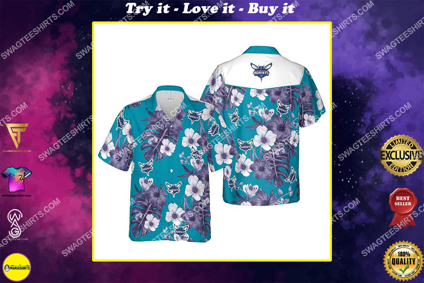 Floral charlotte hornets nba summer vacation hawaiian shirt