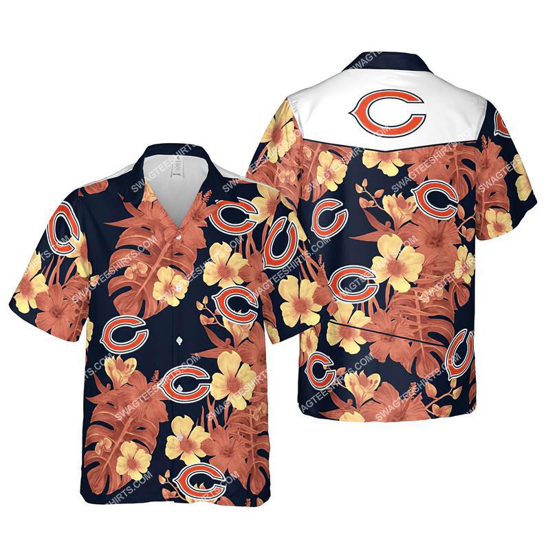 Floral chicago bears nfl summer vacation hawaiian shirt 1