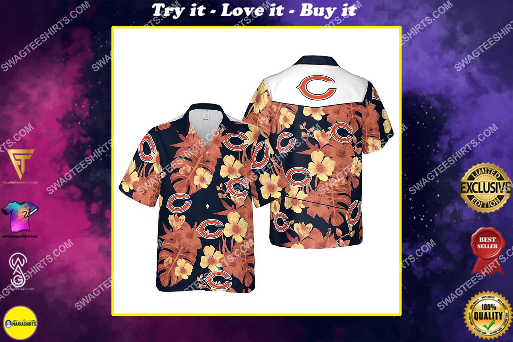 Floral chicago bears nfl summer vacation hawaiian shirt