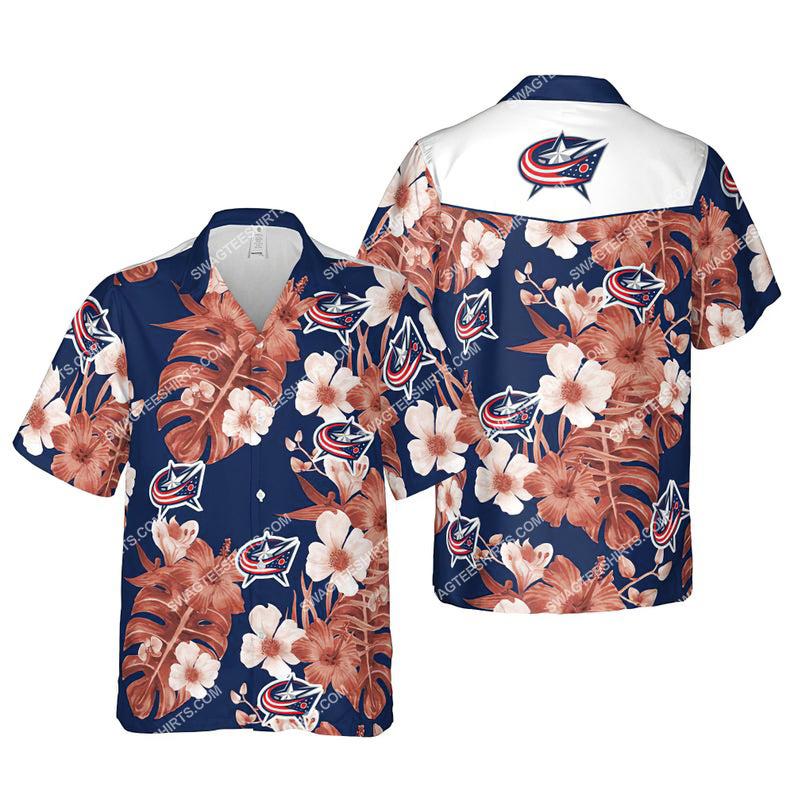 Floral columbus blue jackets nhl summer vacation hawaiian shirt 1