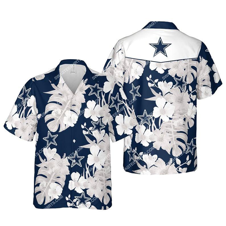 Floral dallas cowboys nfl summer vacation hawaiian shirt 1