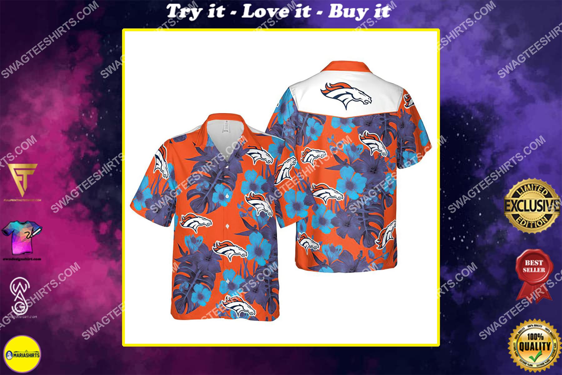 Floral denver broncos nfl summer vacation hawaiian shirt