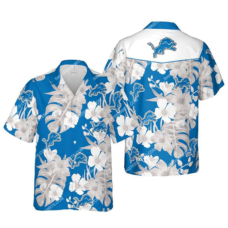 Floral detroit lions nfl summer vacation hawaiian shirt 1
