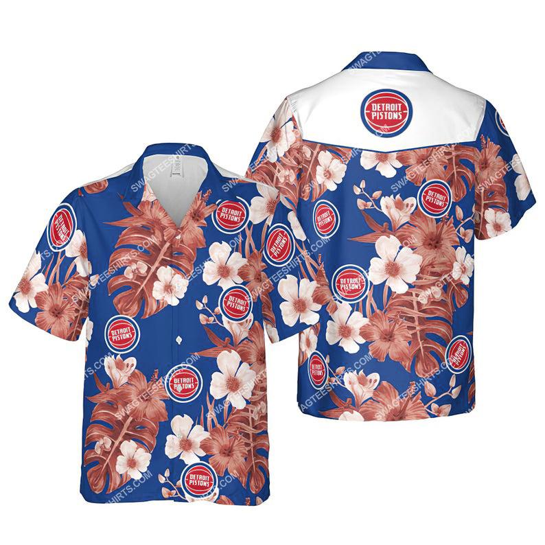 Floral detroit pistons nba summer vacation hawaiian shirt 1