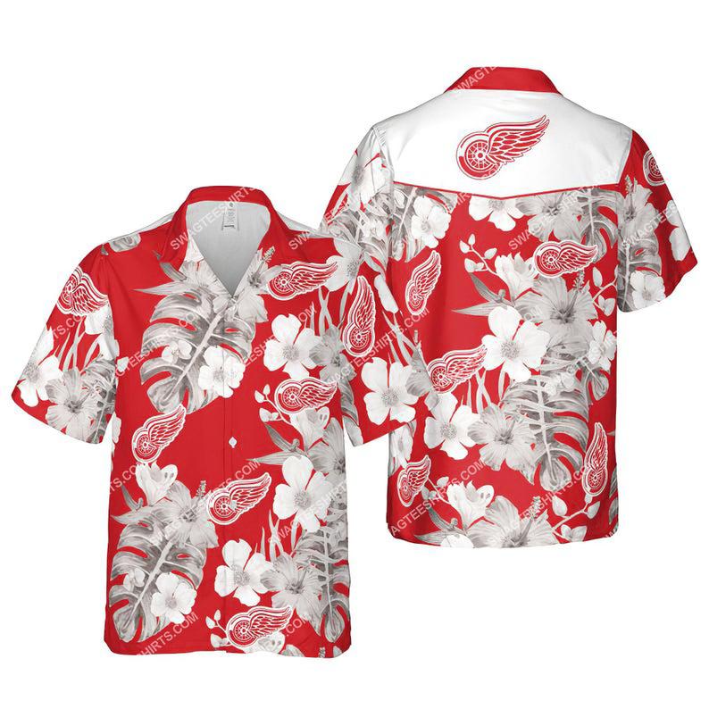 Floral detroit red wings nhl summer vacation hawaiian shirt 1