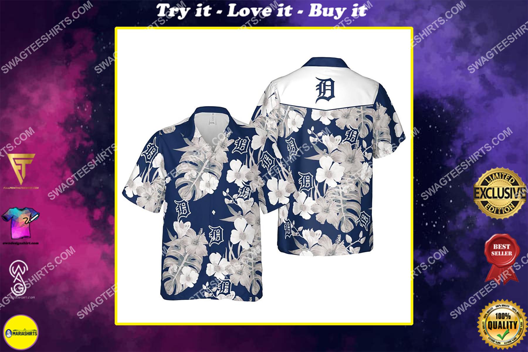 Floral detroit tigers mlb summer vacation hawaiian shirt