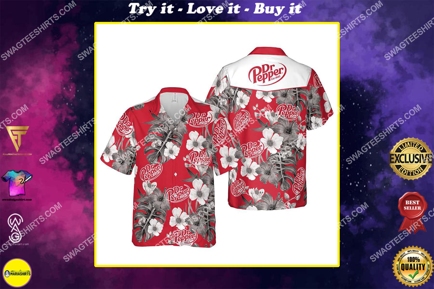 Floral dr pepper summer vacation hawaiian shirt