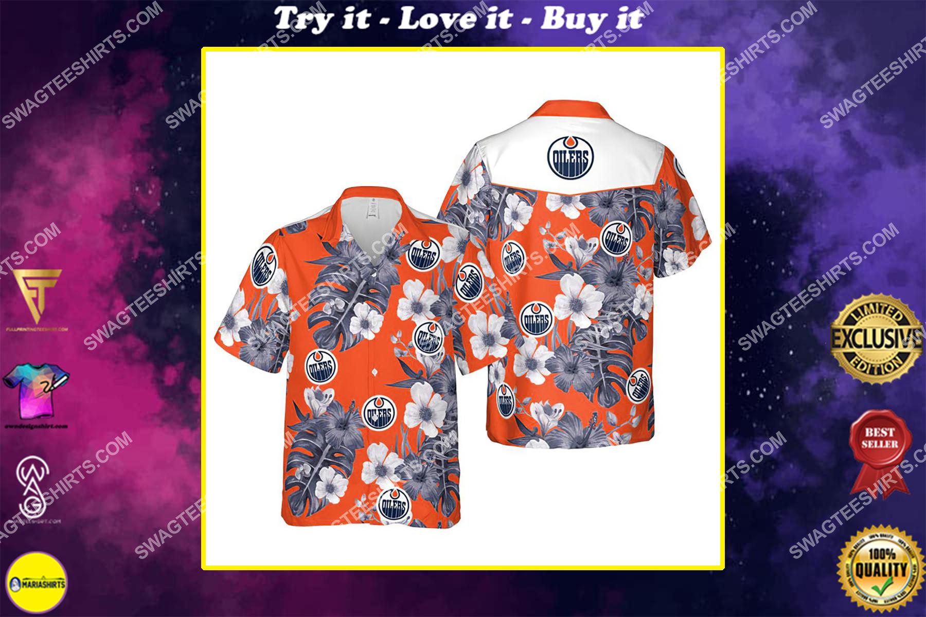 Floral edmonton oilers nhl summer vacation hawaiian shirt