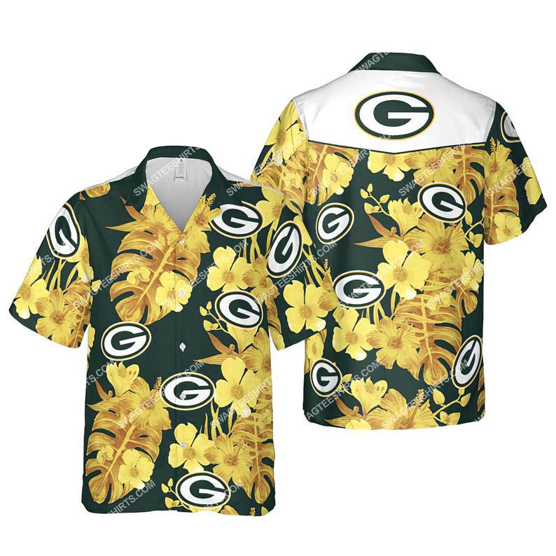 Floral green bay packers nfl summer vacation hawaiian shirt 1