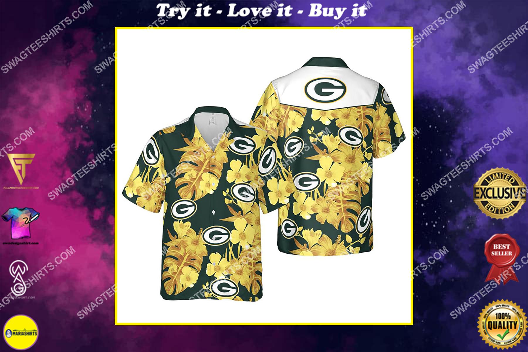 Floral green bay packers nfl summer vacation hawaiian shirt