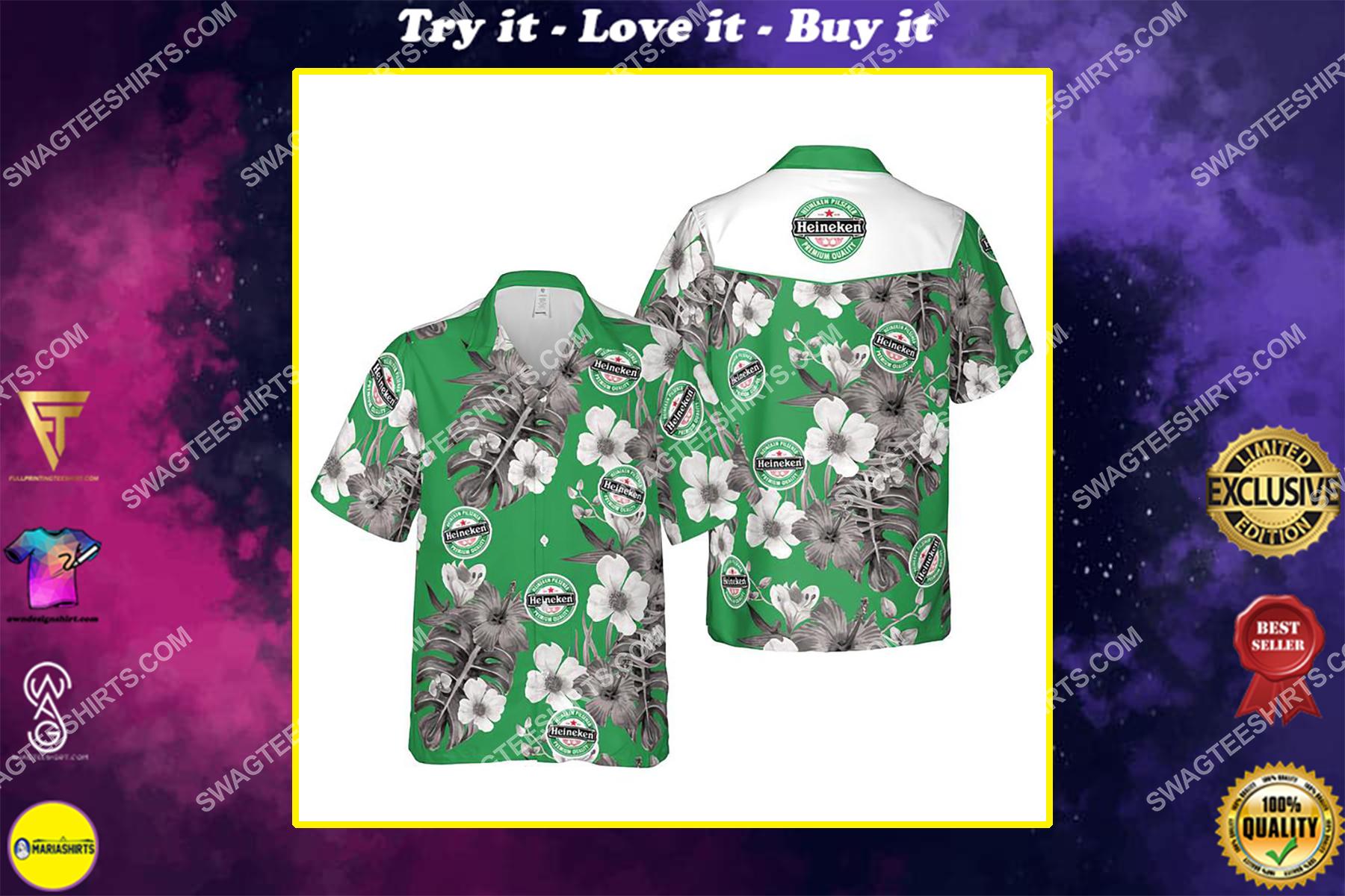 Floral heiniken beer summer vacation hawaiian shirt