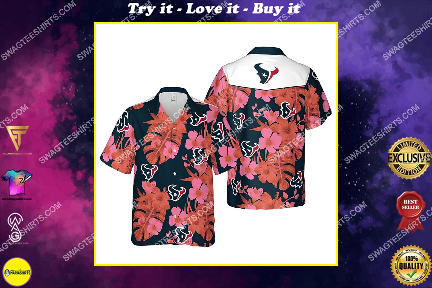 Floral houston texans nfl summer vacation hawaiian shirt