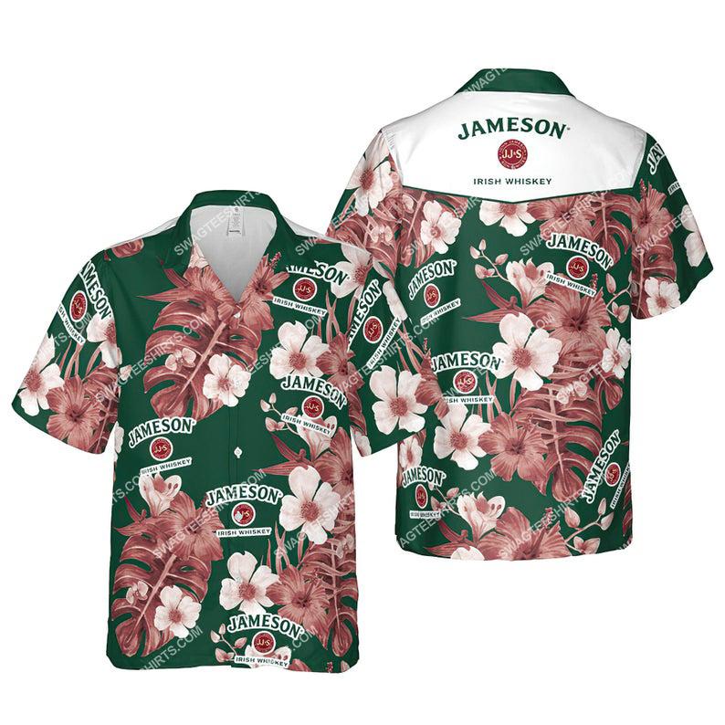 Floral jameson irish whiskey summer vacation hawaiian shirt 1