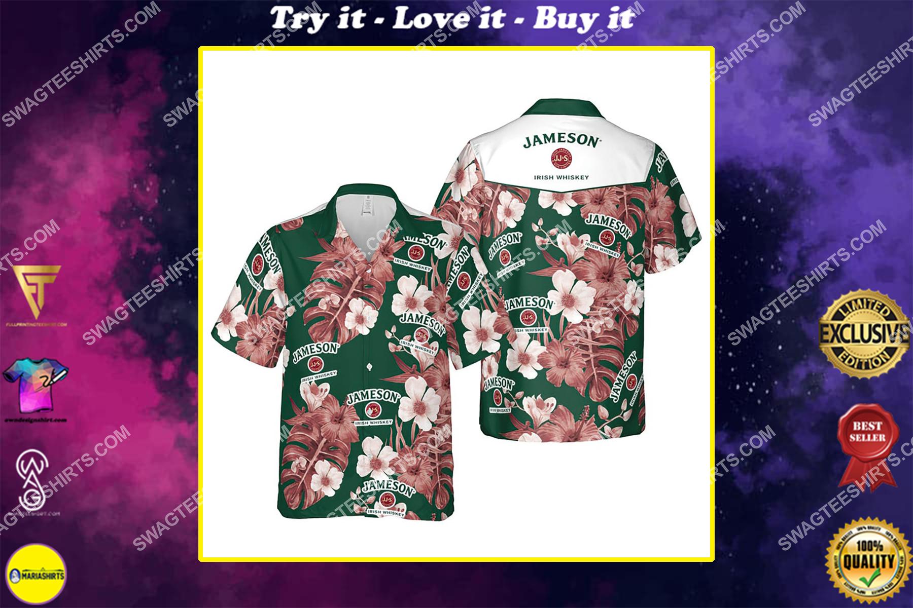 Floral jameson irish whiskey summer vacation hawaiian shirt
