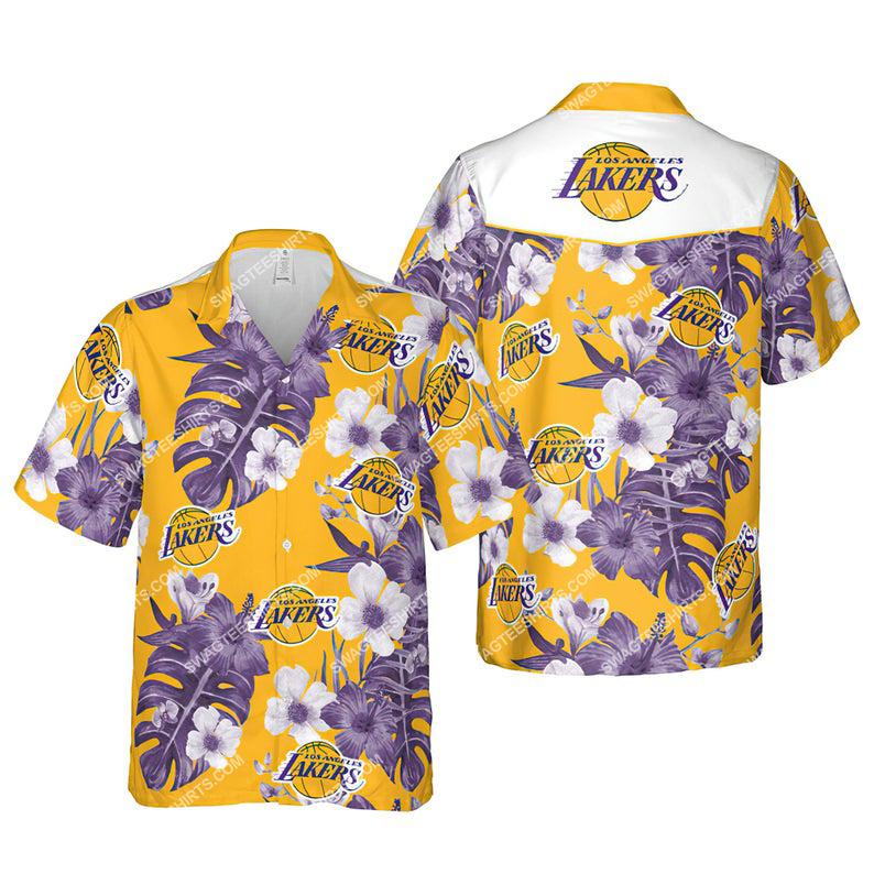 Floral los angeles lakers nba summer vacation hawaiian shirt 1