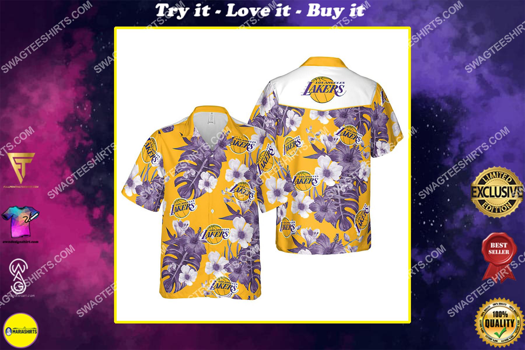 Floral los angeles lakers nba summer vacation hawaiian shirt