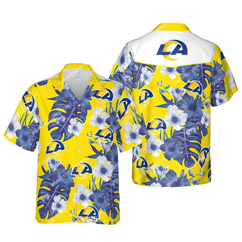 Floral los angeles rams nfl summer vacation hawaiian shirt 1