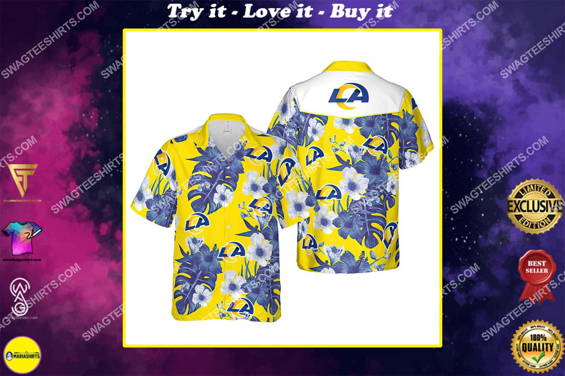 Floral los angeles rams nfl summer vacation hawaiian shirt