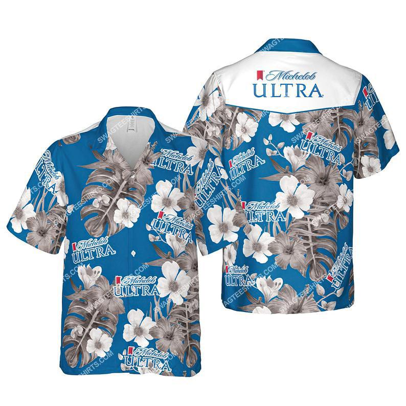 Floral michelob ultra beer summer vacation hawaiian shirt 1