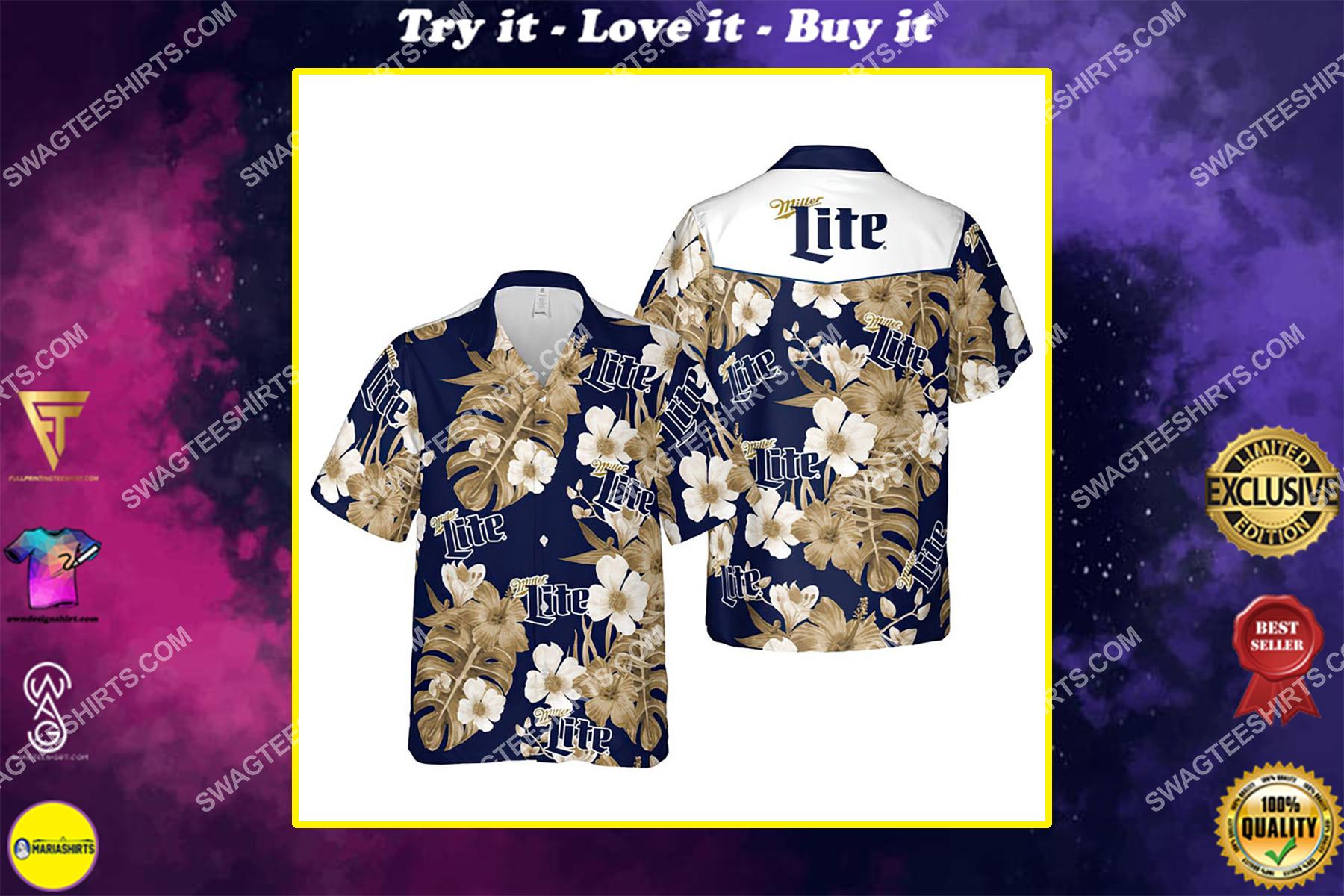 Floral miller lite beer summer vacation hawaiian shirt