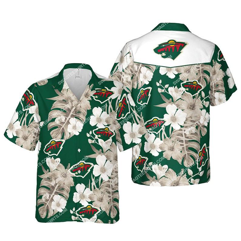 Floral minnesota wild nhl summer vacation hawaiian shirt 1
