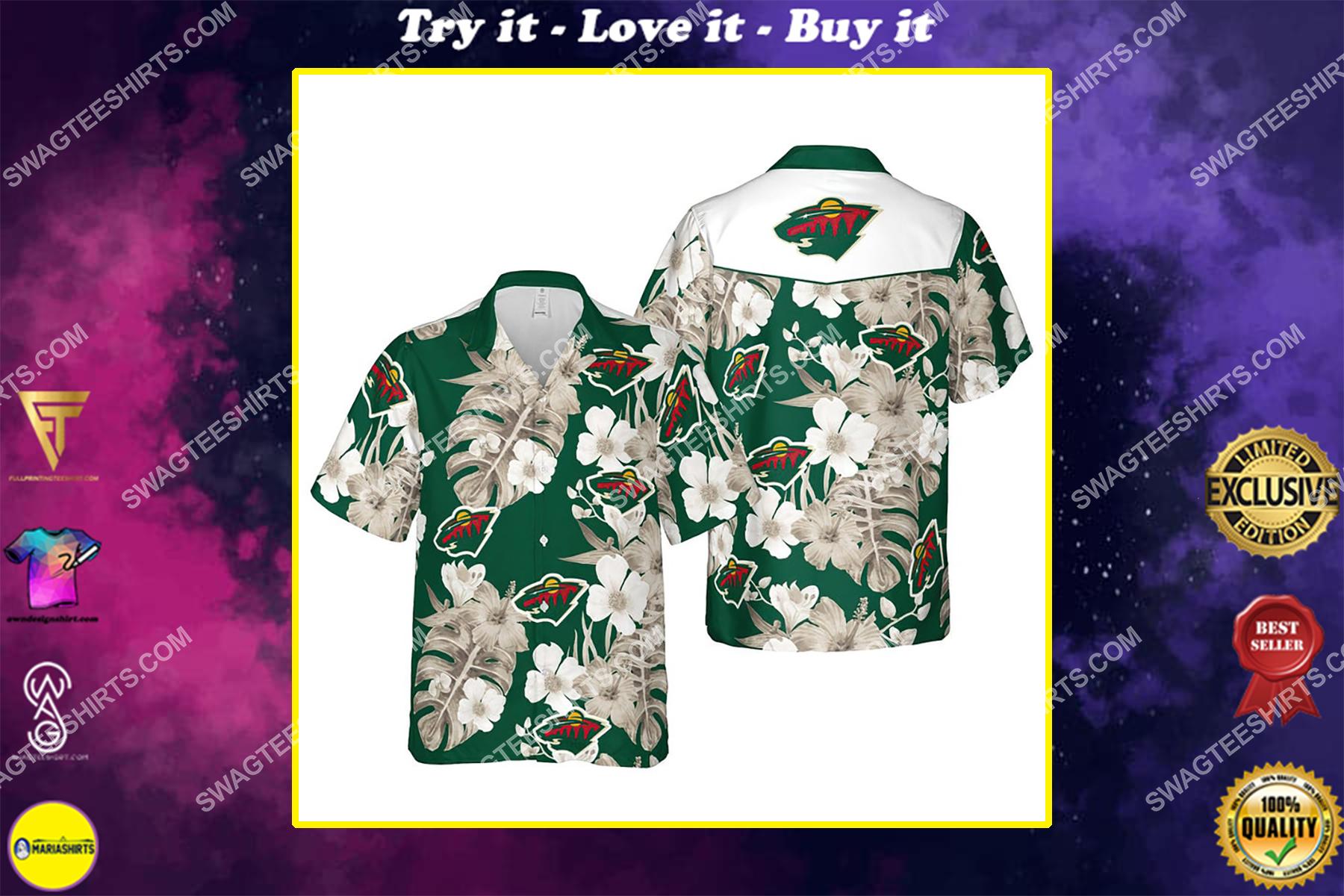 Floral minnesota wild nhl summer vacation hawaiian shirt