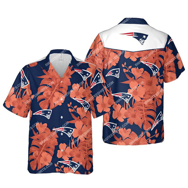 Floral new england patriots nfl summer vacation hawaiian shirt 1