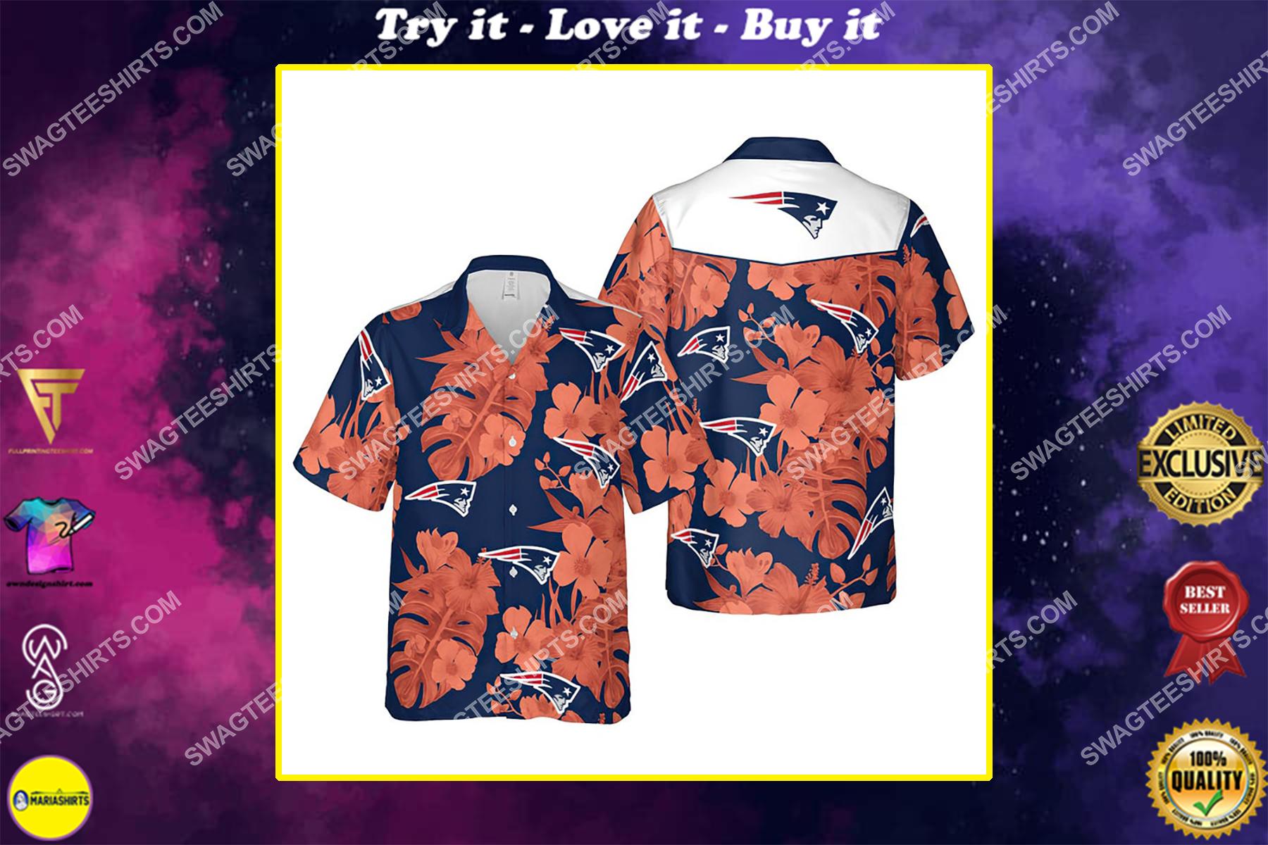 Floral new england patriots nfl summer vacation hawaiian shirt
