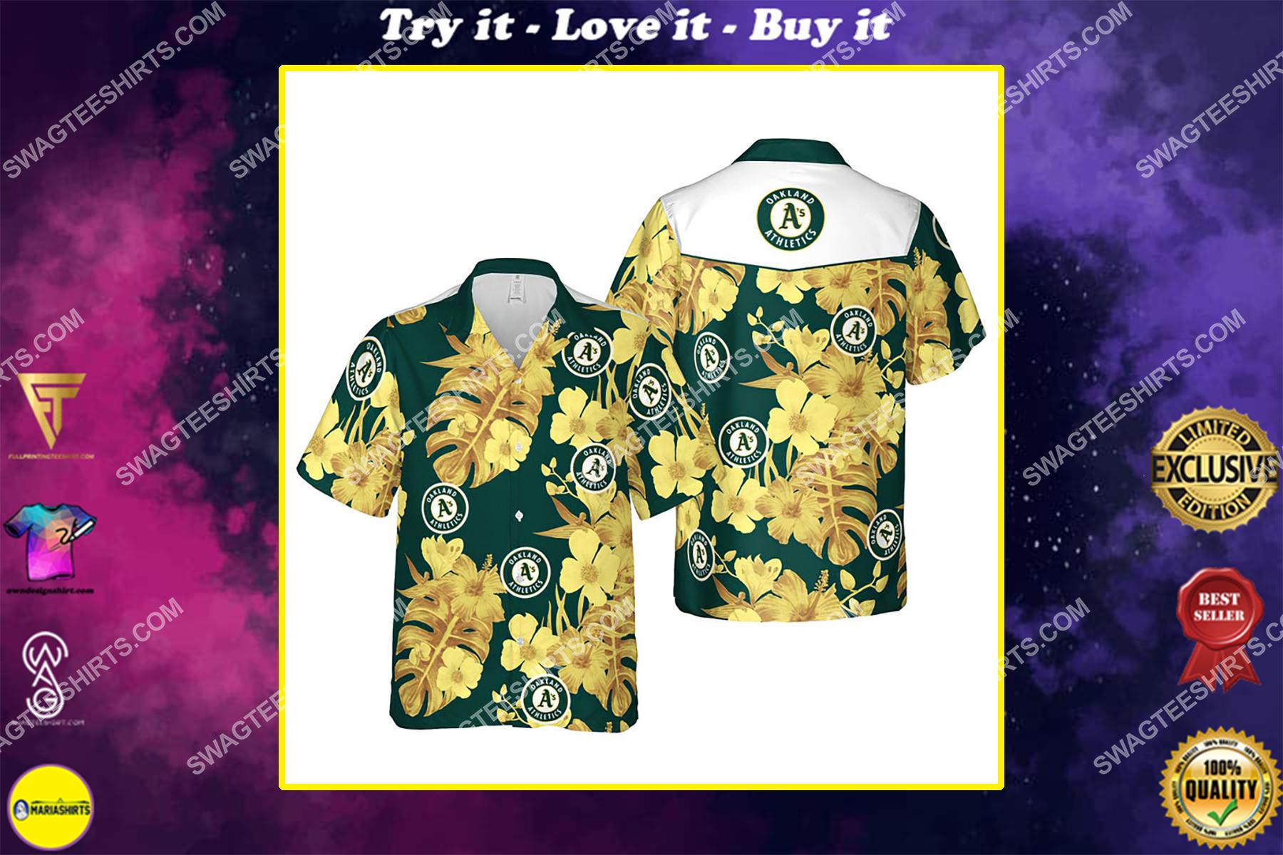 Floral oakland athletics mlb summer vacation hawaiian shirt