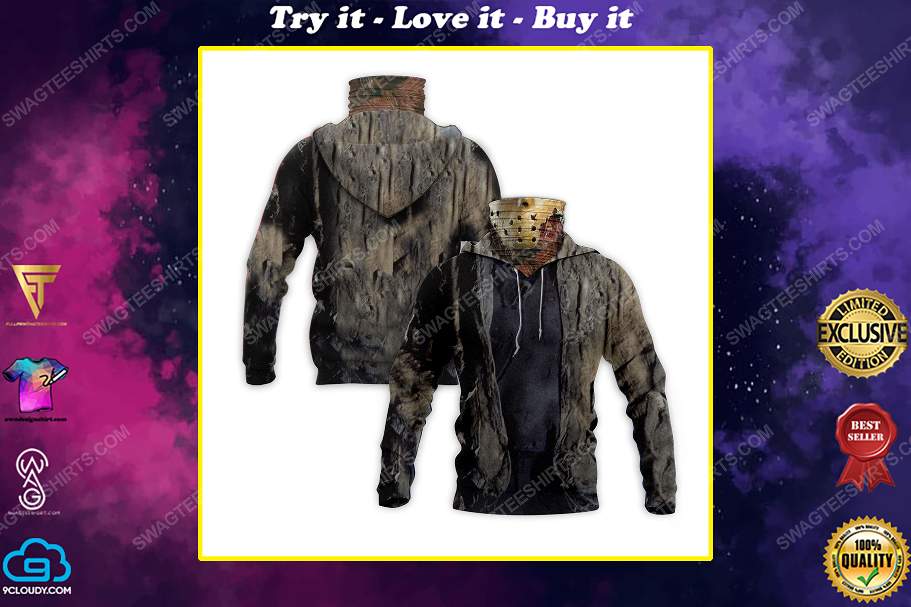 Friday the 13th jason voorhees for halloween full print mask hoodie