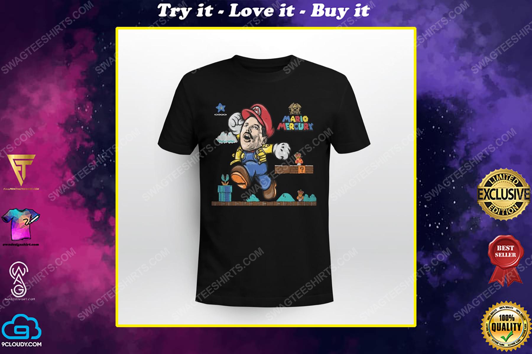 Game super mario and freddie mercury shirt