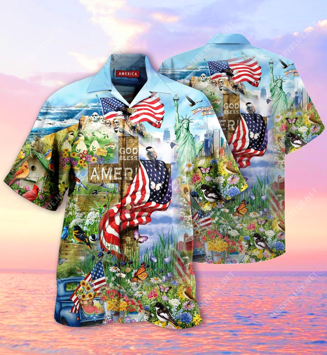 God bless american all over printed hawaiian shirt 2