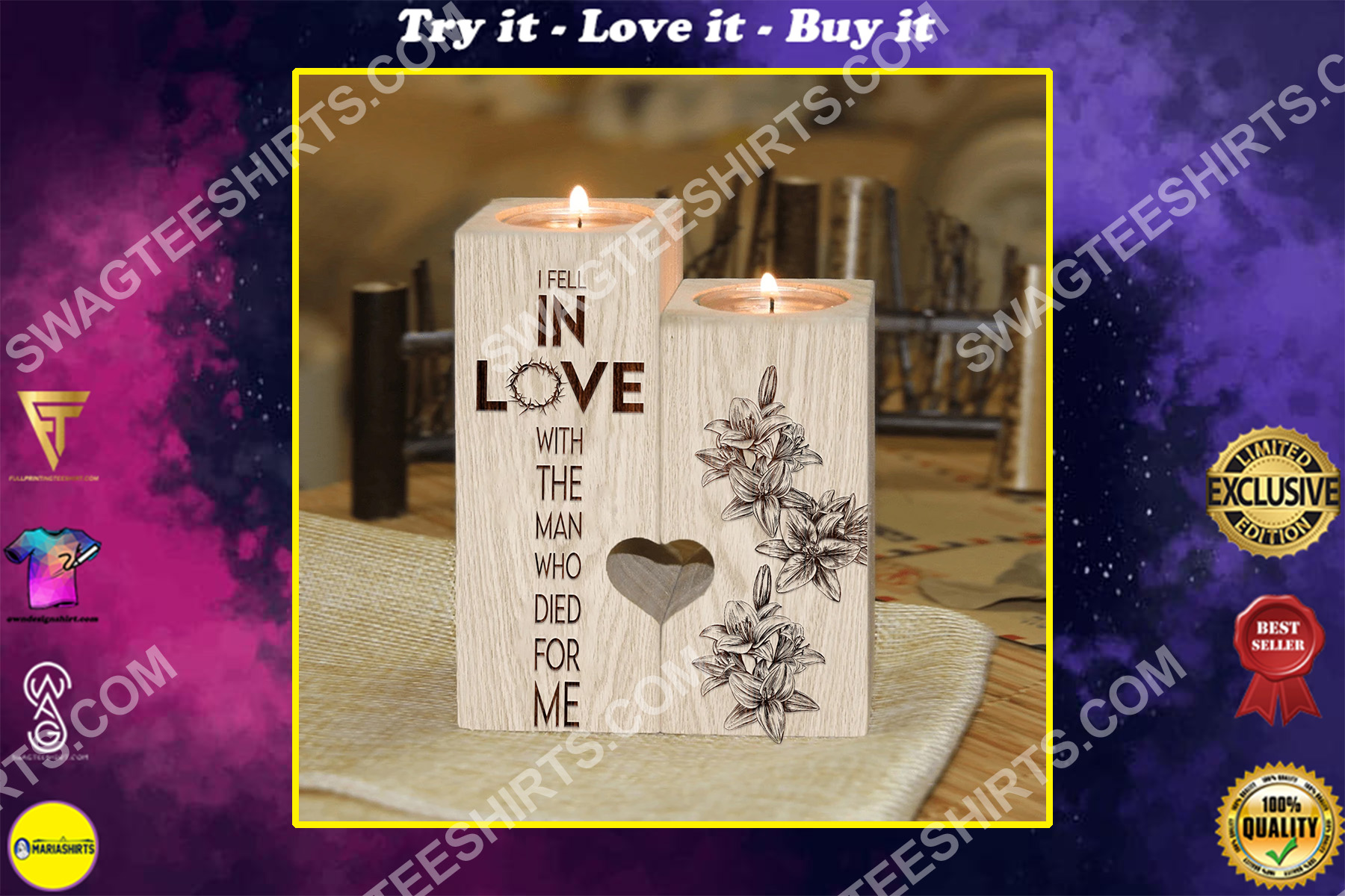 God i fell in love with the man who died for me candle holder
