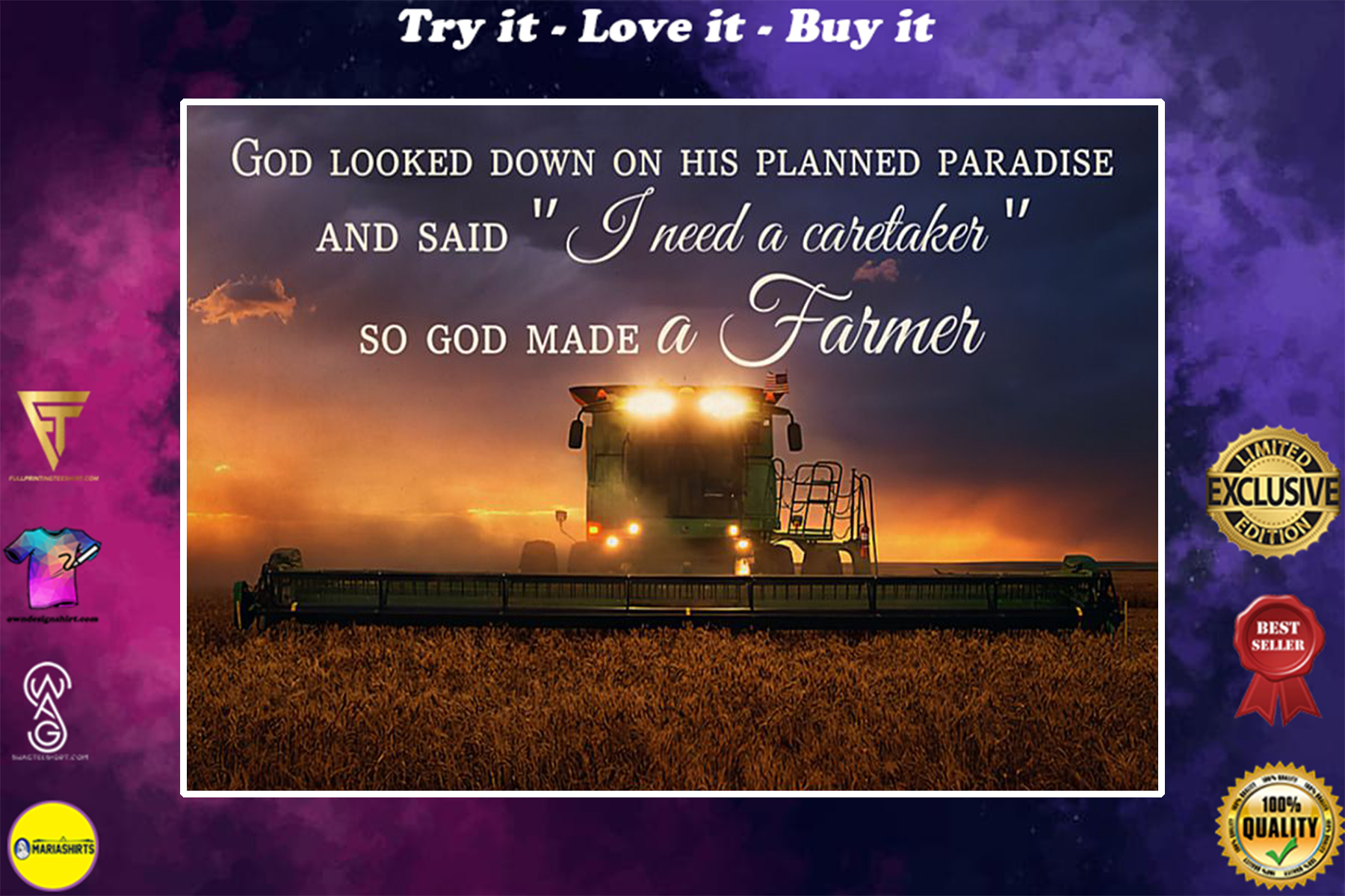 God look down on his planned paradise and said i need a caretaker so God makes a farmer poster