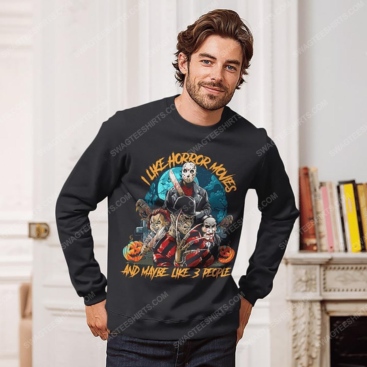 Halloween i like horror movies and maybe like 3 people sweatshirt 1(1)