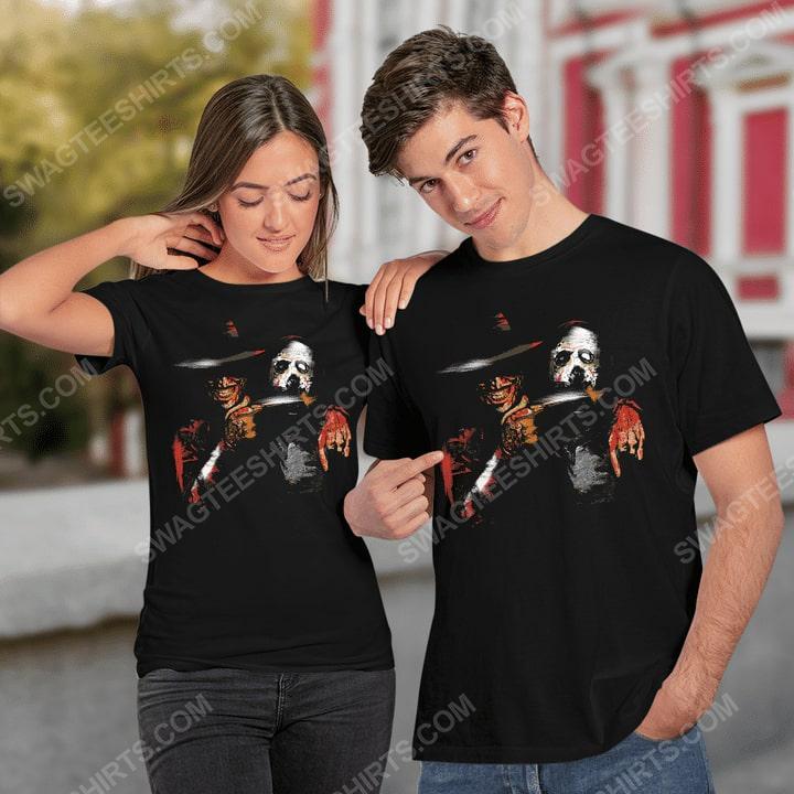Halloween movie jason voorhees and freddy krueger shirt 2(1)