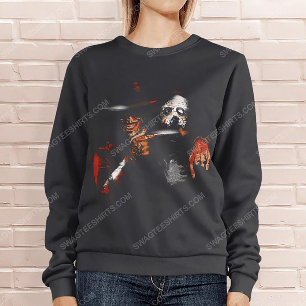 Halloween movie jason voorhees and freddy krueger sweatshirt 1(1)