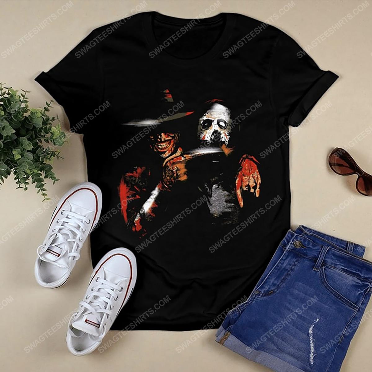 Halloween movie jason voorhees and freddy krueger tshirt 1