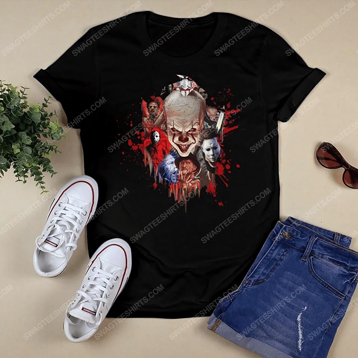 Halloween night horror movie villains with bloody tshirt 1