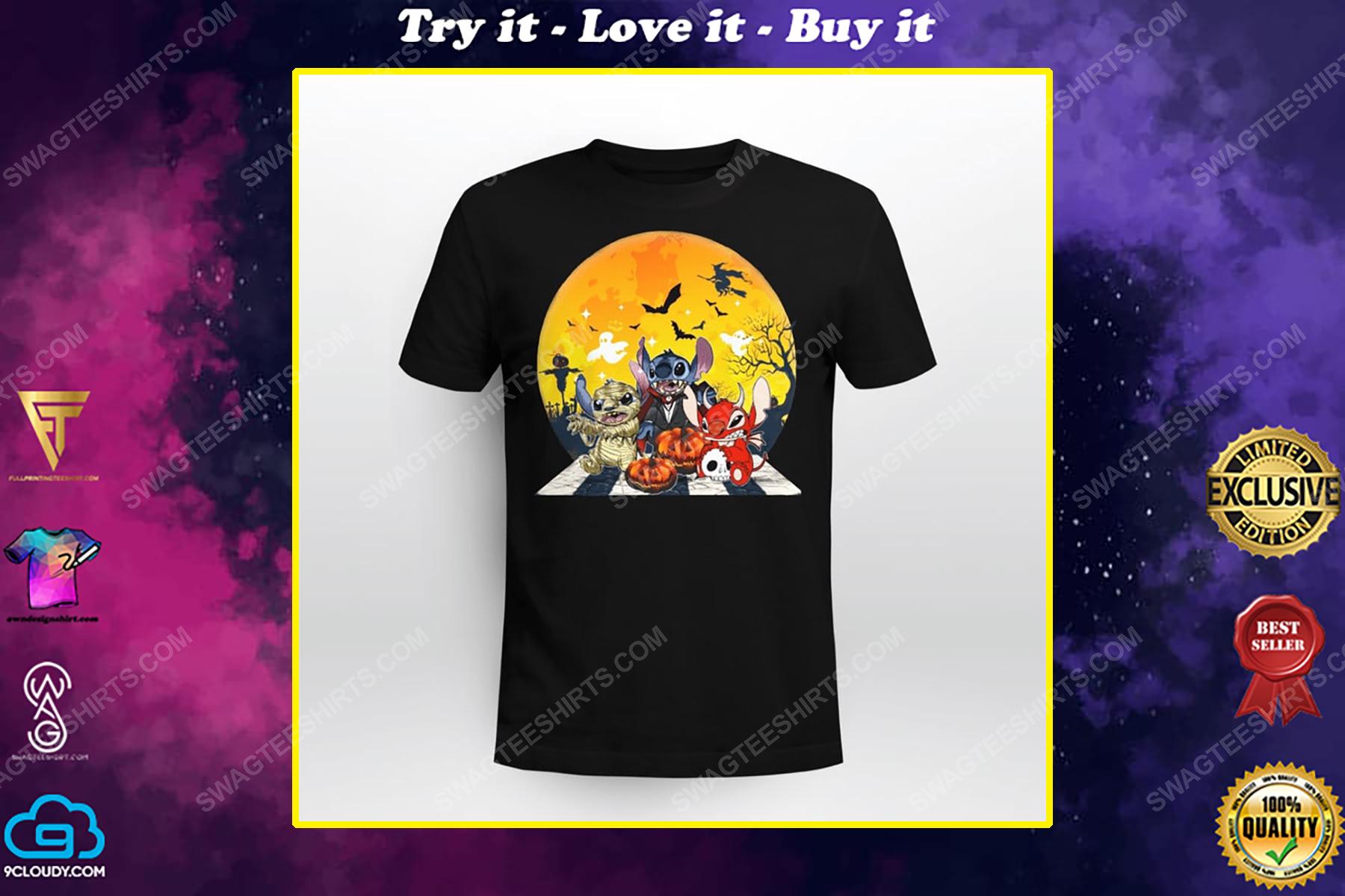 Halloween night stitch cosplay horror characters shirt