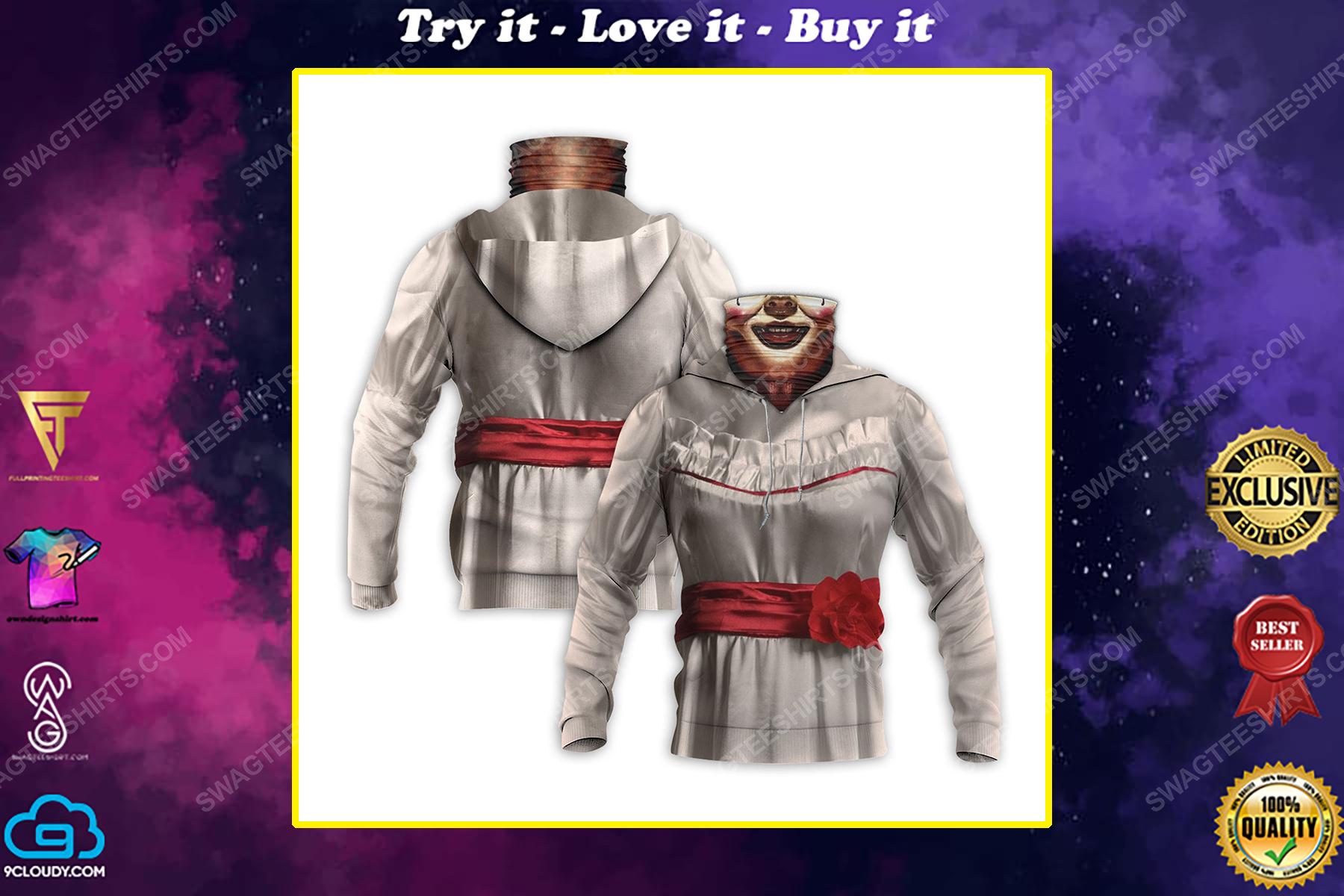 Horror movie annabelle for halloween full print mask hoodie